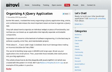http://bitovi.com/blog/2010/11/organizing-a-jquery-application.html