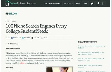 http://www.onlineuniversities.com/blog/2010/02/100-niche-search-engines-every-college-student-needs/