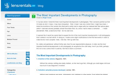 http://www.lensrentals.com/blog/2011/12/the-most-important-developments-in-photography