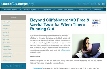 http://www.onlinecollege.org/2010/01/24/beyond-cliffsnotes-100-free-useful-tools-for-when-times-running-out/