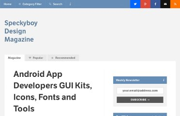 http://speckyboy.com/2010/05/10/android-app-developers-gui-kits-icons-fonts-and-tools/