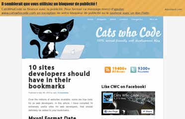 http://www.catswhocode.com/blog/10-sites-developers-should-have-in-their-bookmarks
