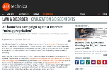 http://arstechnica.com/tech-policy/2009/04/ap-launches-campaign-against-internet-misappropriation/