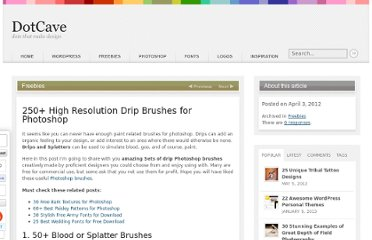 http://dotcave.com/freebies/drip-brushes-for-photoshop/