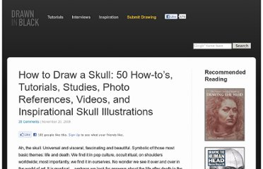 http://www.drawninblack.com/2008/11/how-to-draw-a-skull-50-how-tos-tutorials-studies-photo-references-videos-and-inspirational-skull-illustrations/