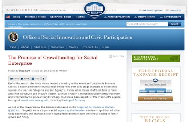 http://www.whitehouse.gov/blog/2012/06/28/promise-crowdfunding-social-enterprise