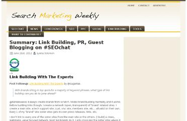 http://www.searchmarketingweekly.com/summary-link-building-pr-guest-blogging-seochat/
