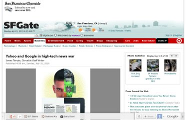 http://www.sfgate.com/technology/article/Yahoo-and-Google-in-high-tech-news-war-3259318.php