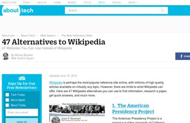http://websearch.about.com/od/referencesearch/tp/wikipedia-alternatives.htm