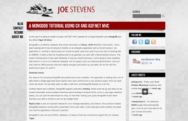 http://www.joe-stevens.com/2011/10/02/a-mongodb-tutorial-using-c-and-asp-net-mvc/