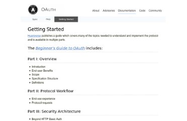 http://oauth.net/documentation/getting-started/