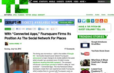 http://techcrunch.com/2012/07/01/with-connected-apps-foursquare-firms-its-position-as-the-social-network-for-places/