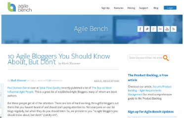 http://agilebench.com/blog/10-agile-bloggers-you-should-know-about-but-dont