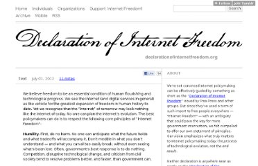 http://declarationofinternetfreedom.org/post/26297306575/we-believe-freedom-to-be-an-essential-condition-of#notes