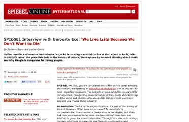 http://www.spiegel.de/international/zeitgeist/spiegel-interview-with-umberto-eco-we-like-lists-because-we-don-t-want-to-die-a-659577.html