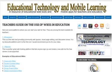 http://www.educatorstechnology.com/2012/07/teachers-guide-on-use-of-wikis-in.html