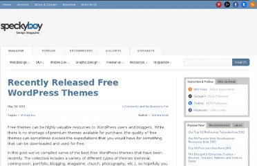 http://speckyboy.com/2012/05/30/recently-released-free-wordpress-themes/