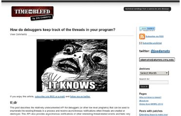 http://timetobleed.com/how-do-debuggers-keep-track-of-the-threads-in-your-program/