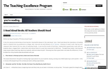 http://teachingexcellenceprogram.wordpress.com/2012/04/18/5-read-aloud-books-all-teachers-should-read/