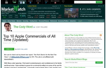 http://blogs.marketwatch.com/cody/2011/10/06/top-10-best-apple-commercials-of-all-time-2/