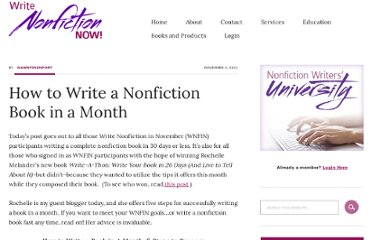 http://writenonfictioninnovember.com/2011/11/04/how-to-write-a-nonfiction-book-in-a-month/
