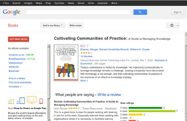 http://books.google.co.uk/books/about/Cultivating_Communities_of_Practice.html?id=m1xZuNq9RygC#v=onepage&q&f=false