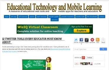 http://www.educatorstechnology.com/2012/07/12-twitter-tools-every-educators-must.html