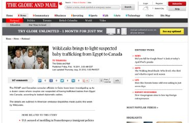http://www.theglobeandmail.com/news/national/wikileaks-brings-to-light-suspected-baby-trafficking-from-egypt-to-canada/article566911/