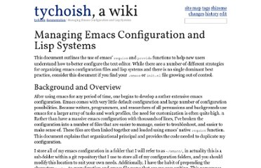 http://tychoish.com/documentation/managing-emacs-configuraiton-and-lisp-systems/