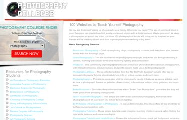 http://www.photography-colleges.org/100-websites-to-teach-yourself-photography/