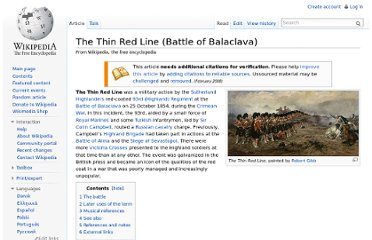 http://en.wikipedia.org/wiki/The_Thin_Red_Line_(Battle_of_Balaclava)