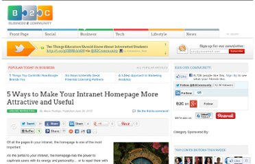 http://www.business2community.com/online-marketing/5-ways-to-make-your-intranet-homepage-more-attractive-and-useful-0203978