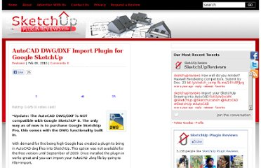 http://sketchuppluginreviews.com/2010/02/06/autocad-dwgdxf-import-plugin-for-google-sketchup/