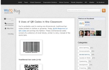 http://blog.wiziq.com/5-uses-of-qr-codes-in-the-classroom/