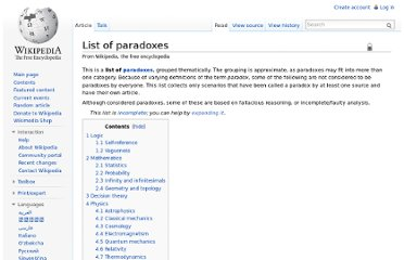 http://en.wikipedia.org/wiki/List_of_paradoxes