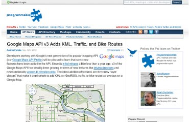 http://blog.programmableweb.com/2010/05/12/google-maps-api-v3-adds-kml-traffic-and-bike-routes/