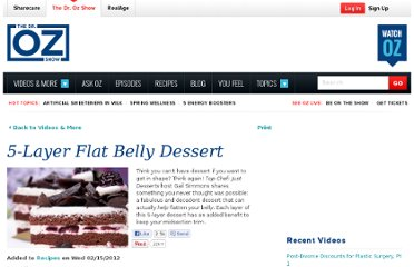 http://www.doctoroz.com/videos/5-layer-flat-belly-dessert