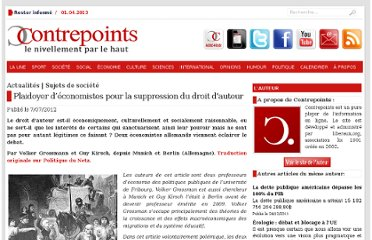 http://www.contrepoints.org/2012/07/07/89505-plaidoyer-deconomistes-pour-la-suppression-du-droit-dauteur