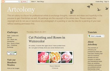 http://artcolony.blogspot.com/2011/03/cat-painting-and-roses-in-watercolor.html