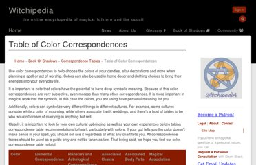 http://www.witchipedia.com/table:color-correspondences