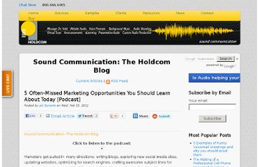 http://soundcommunication.holdcom.com/bid/81980/5-Often-Missed-Marketing-Opportunities-You-Should-Learn-About-Today-Podcast
