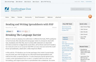 http://devzone.zend.com/27/reading-and-writing-spreadsheets-with-php/