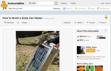 http://www.instructables.com/id/How-to-Build-a-Soda-Can-Heater/