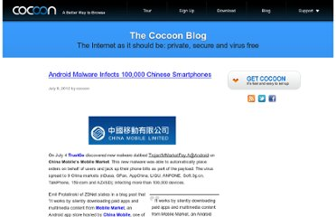 http://blog.getcocoon.com/2012/07/09/android-malware-infects-100000-chinese-smartphones/