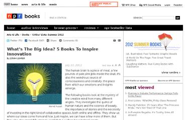 http://www.npr.org/2012/07/10/152827852/whats-the-big-idea-5-books-to-inspire-innovation