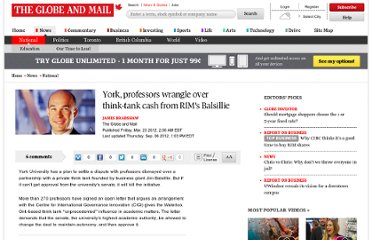 http://www.theglobeandmail.com/news/national/york-professors-wrangle-over-think-tank-cash-from-rims-balsillie/article4099098/