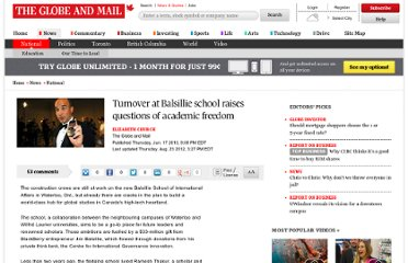 http://www.theglobeandmail.com/news/national/turnover-at-balsillie-school-raises-questions-of-academic-freedom/article1215756/
