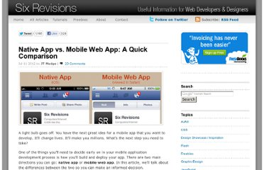 http://sixrevisions.com/mobile/native-app-vs-mobile-web-app-comparison/