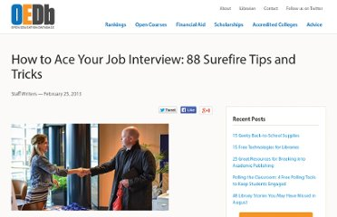 http://oedb.org/library/starting-a-career/88-surefire-job-interview-tips