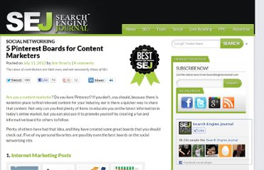 http://www.searchenginejournal.com/5-pinterest-boards-for-content-marketers/45958/